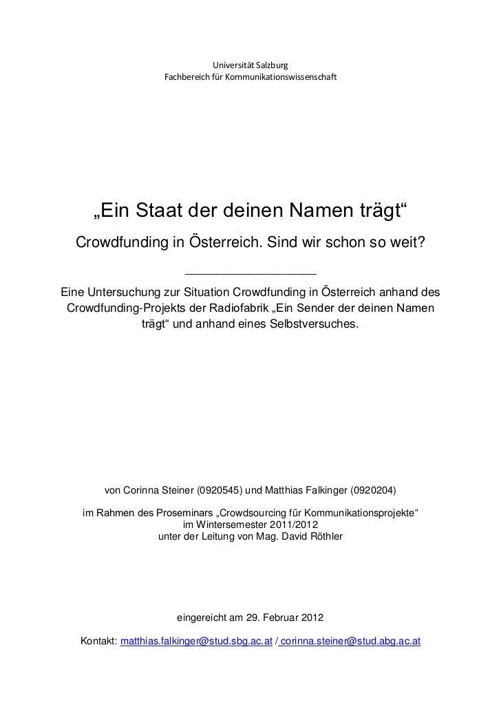 """Universität Salzburg                     Fachbereich für Kommunikationswissenschaft      """"Ein Staat der deinen Namen trägt..."""