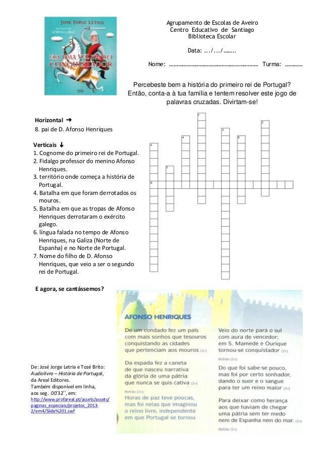 Agrupamento de Escolas de Aveiro Centro Educativo de Santiago Biblioteca Escolar Data: .../.../…….. Nome: …………………………………………...
