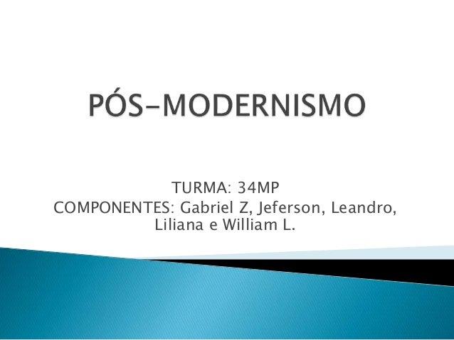 TURMA: 34MP COMPONENTES: Gabriel Z, Jeferson, Leandro, Liliana e William L.