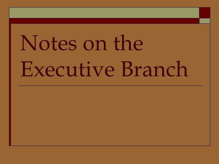 Notes on the Executive Branch