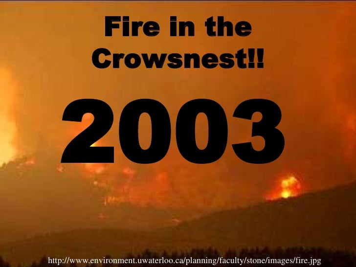 Fire in the Crowsnest!!<br />2003<br />http://www.environment.uwaterloo.ca/planning/faculty/stone/images/fire.jpg<br />