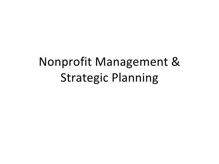 Nonprofit Management &   Strategic Planning