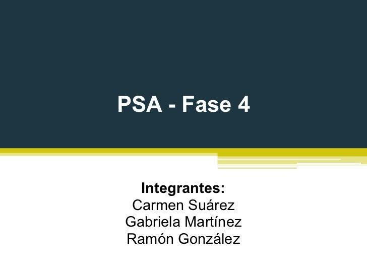 PSA - Fase 4  Integrantes: Carmen SuárezGabriela MartínezRamón González