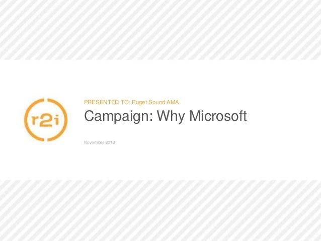 Microsoft Compete: 2013 PSAMA Pulse Award Winning Campaign