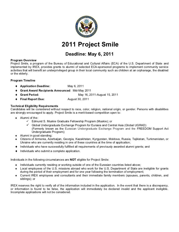 2011 Project Smile                                            Deadline: May 6, 2011Program OverviewProject Smile, a progra...
