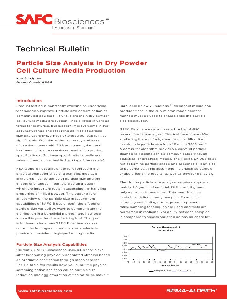 Technical Bulletin Particle Size Analysis in Dry Powder Cell Culture Media Production Kurt Sundgren Process Chemist II DPM...