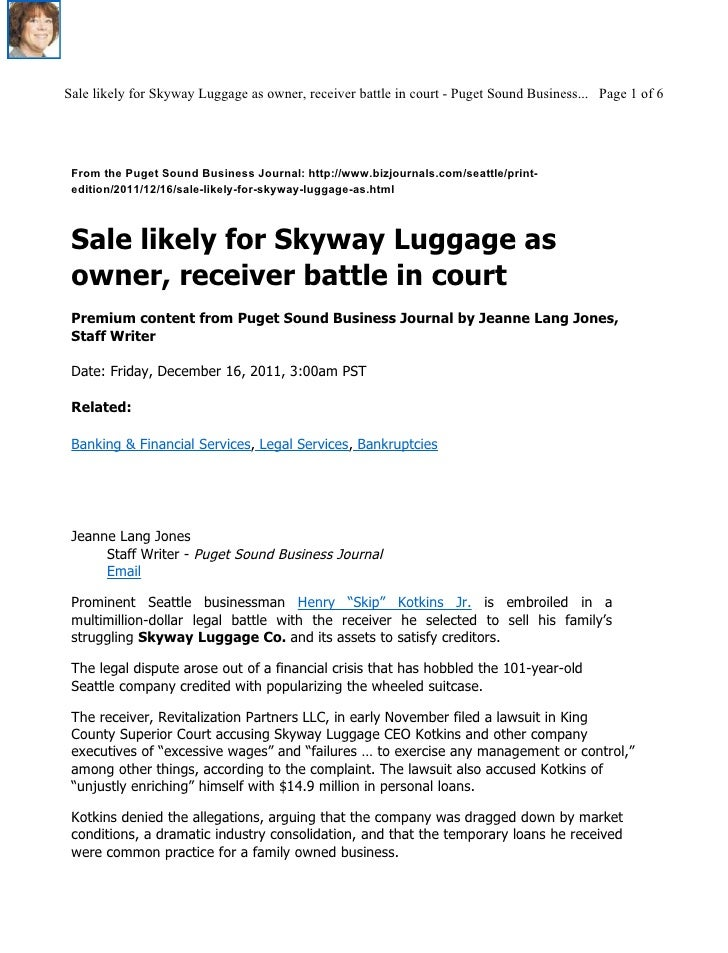 Sale likely for Skyway Luggage as owner, receiver battle in court - Puget Sound Business... Page 1 of 6 From the Puget Sou...