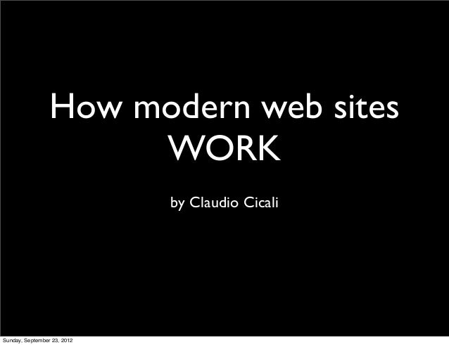 How modern web sites                      WORK                             by Claudio CicaliSunday, September 23, 2012