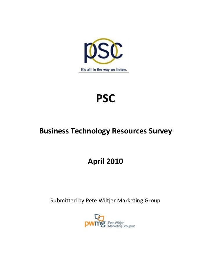 PSC Group, LLC Business Technology Resources Survey