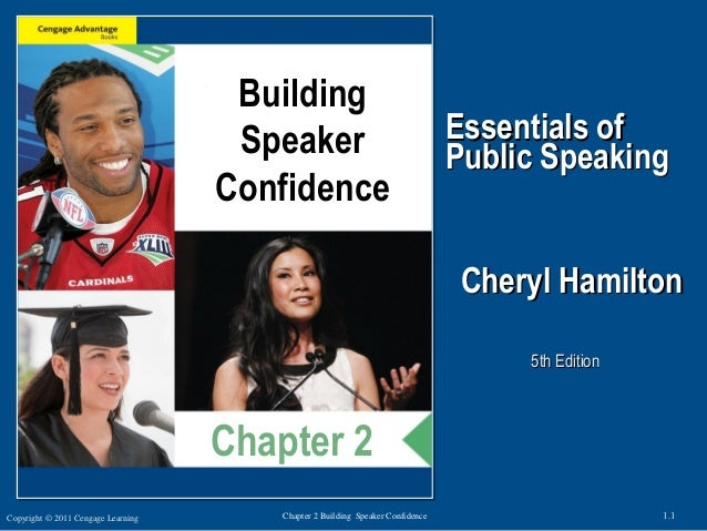 Copyright © 2011 Cengage Learning 1.1Chapter 2 Building Speaker Confidence Essentials ofEssentials of Public SpeakingPubli...