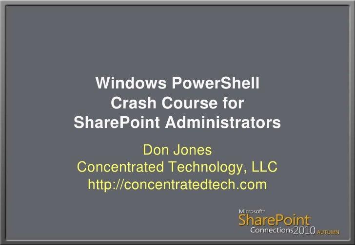 PowerShell crashcourse for Sharepoint admins