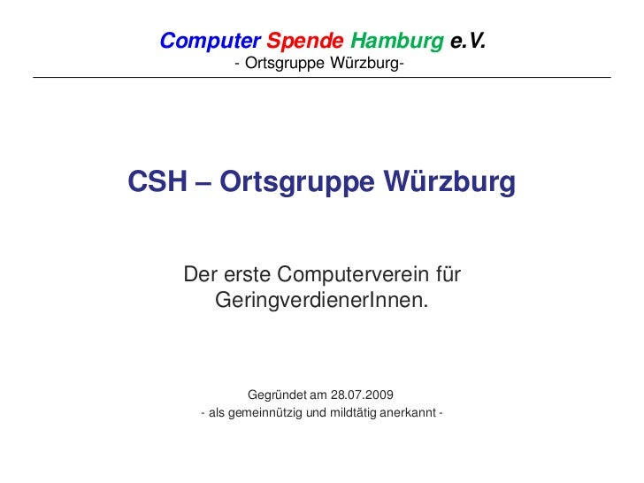Computerspende HH, Ortsgruppe Würzburg
