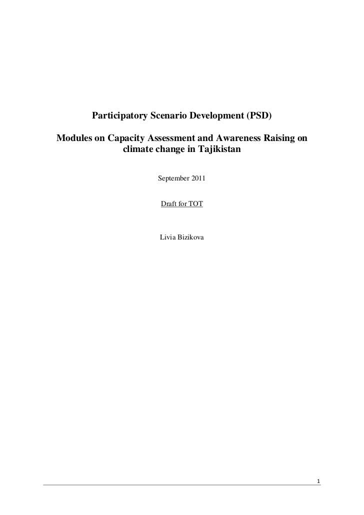 Participatory Scenario Development (PSD)Modules on Capacity Assessment and Awareness Raising on              climate chang...