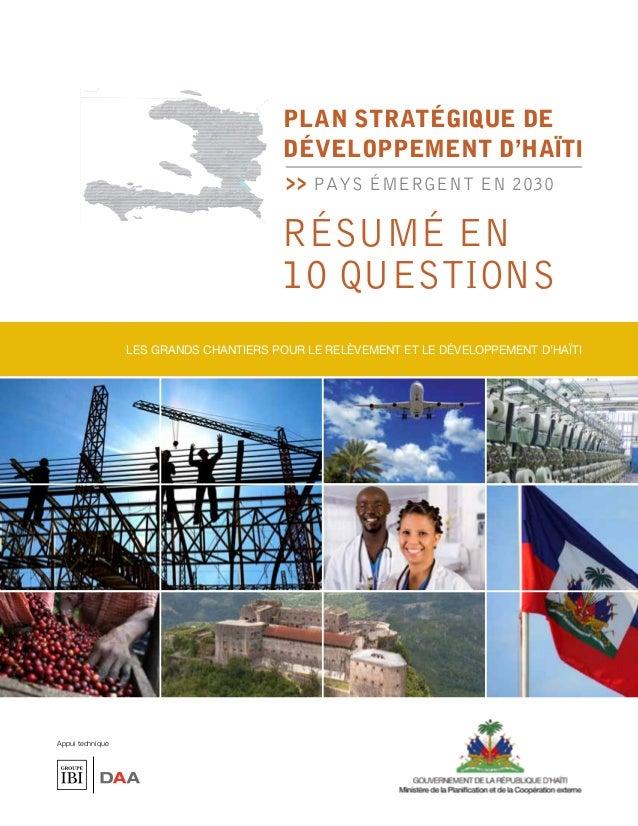 PLAN STRATÉGIQUE de                                         développement d'haïtI                                         ...