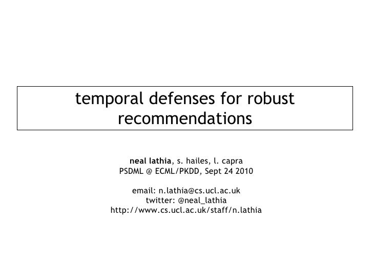 Temporal Defenses for Robust Recommendations