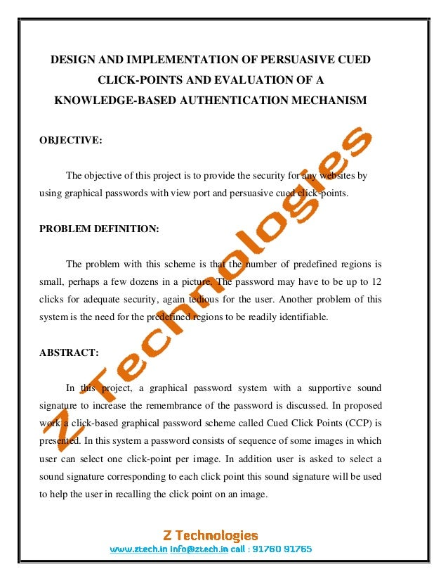 DESIGN AND IMPLEMENTATION OF PERSUASIVE CUED              CLICK-POINTS AND EVALUATION OF A   KNOWLEDGE-BASED AUTHENTICATIO...