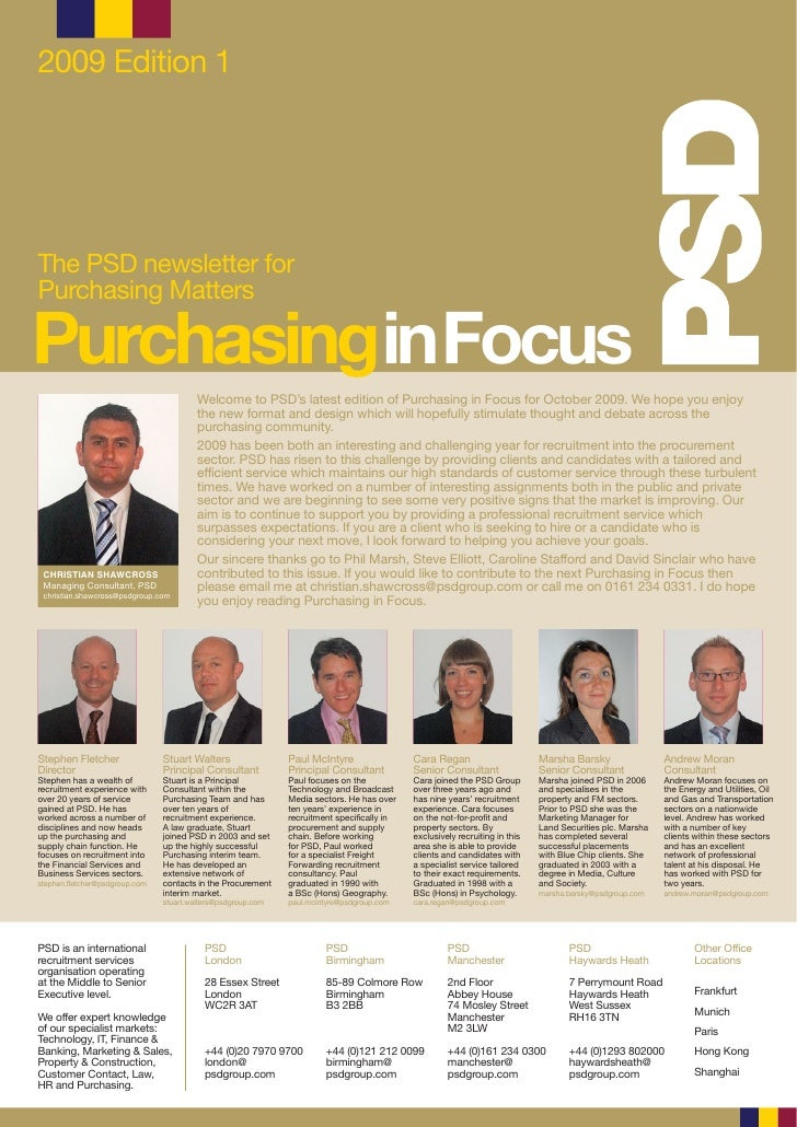 2009 Edition 1     The PSD newsletter for Purchasing Matters  PurchasinginFocus                                          W...