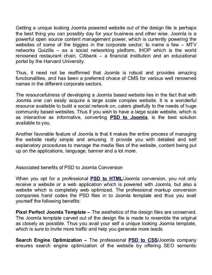 PSD to Joomla conversion Benefits