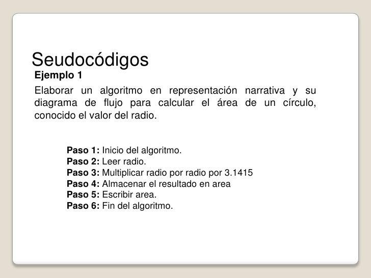 Seudocódigos<br />Ejemplo 1<br />Elaborar un algoritmo en representación narrativa y su diagrama de flujo para calcular el...