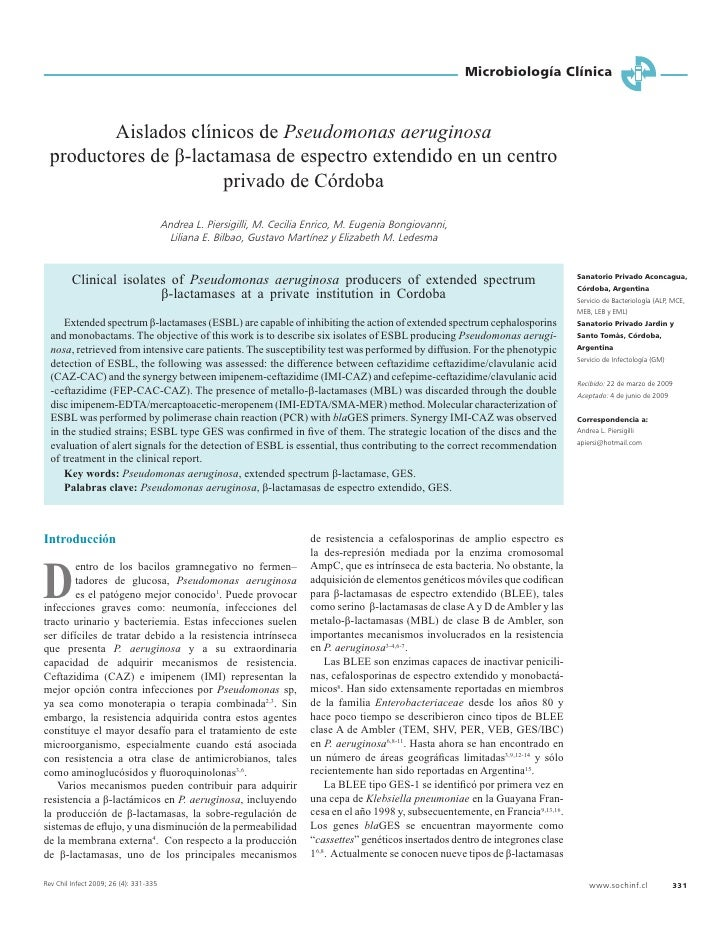 Microbiología Clínica             Aislados clínicos de Pseudomonas aeruginosa   productores de β-lactamasa de espectro ext...