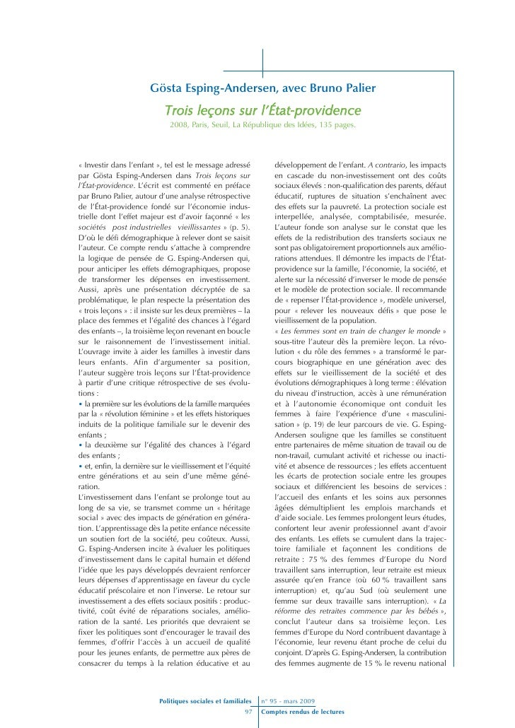Gösta Esping-Andersen, avec Bruno Palier                              Trois leçons sur l'État-providence                  ...