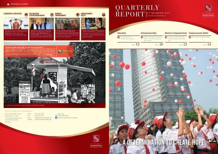 Putera Sampoerna Foundation Report Quarter 2 2011