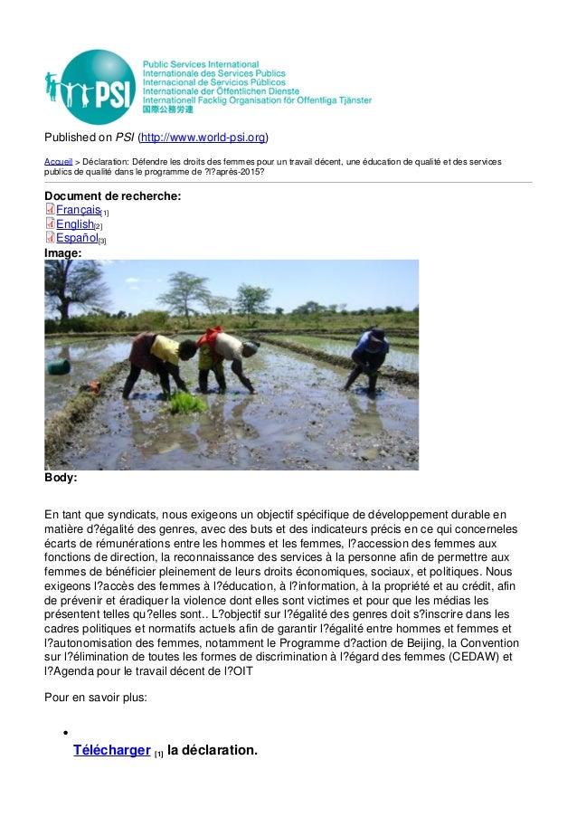 Published on PSI (http://www.world-psi.org) Accueil > Déclaration: Défendre les droits des femmes pour un travail décent, ...