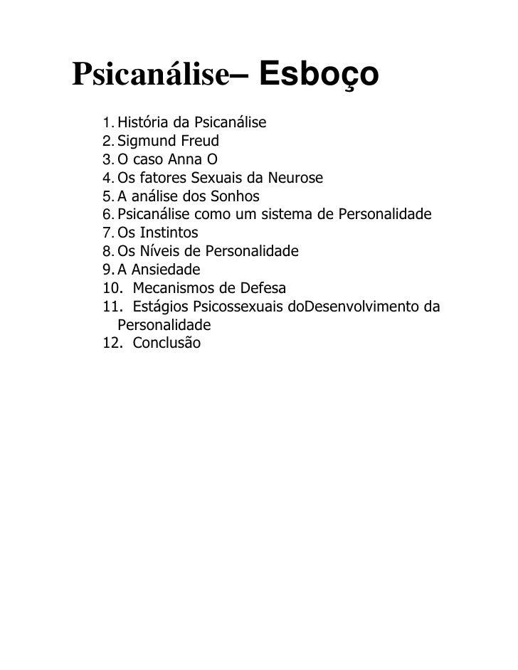Psicanálise– Esboço<br />História da Psicanálise<br />Sigmund Freud<br />O caso Anna O<br />Os fatores Sexuais da Neurose<...