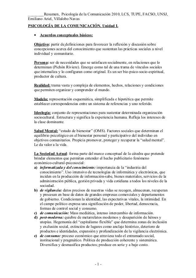 ________Resumen, Psicología de la Comunicación 2010, LCS, TUPE, FACSO, UNSJ,Emiliano Ariel, Villalobo NavasPSICOLOGÍA DE L...