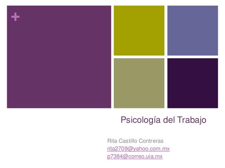 +        Psicología del Trabajo    Rita Castillo Contreras    rita2709@yahoo.com.mx    p7384@correo.uia.mx