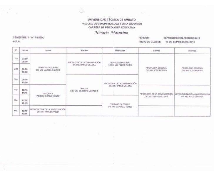 Horarios Carrera de Psicología Educativa UTA - FCHE