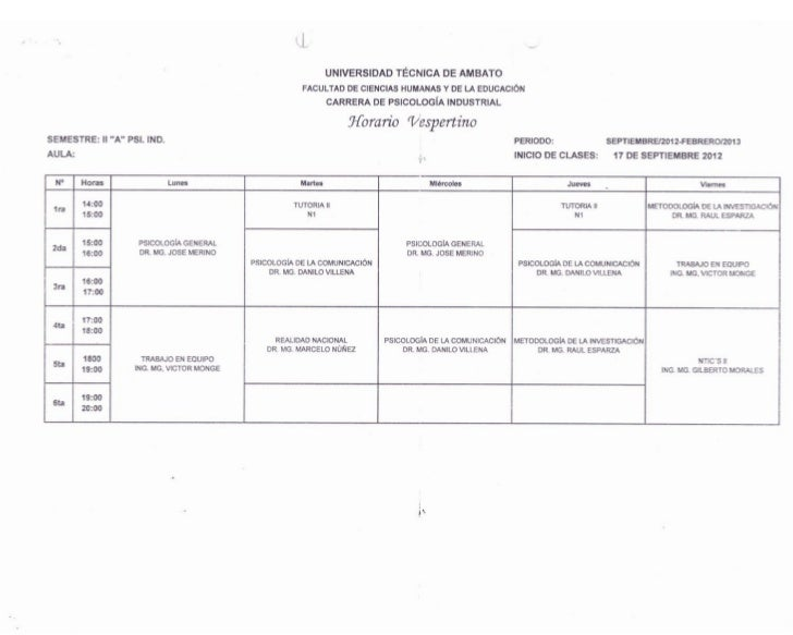 Horarios Carrera de Psicología industrial UTA - FCHE