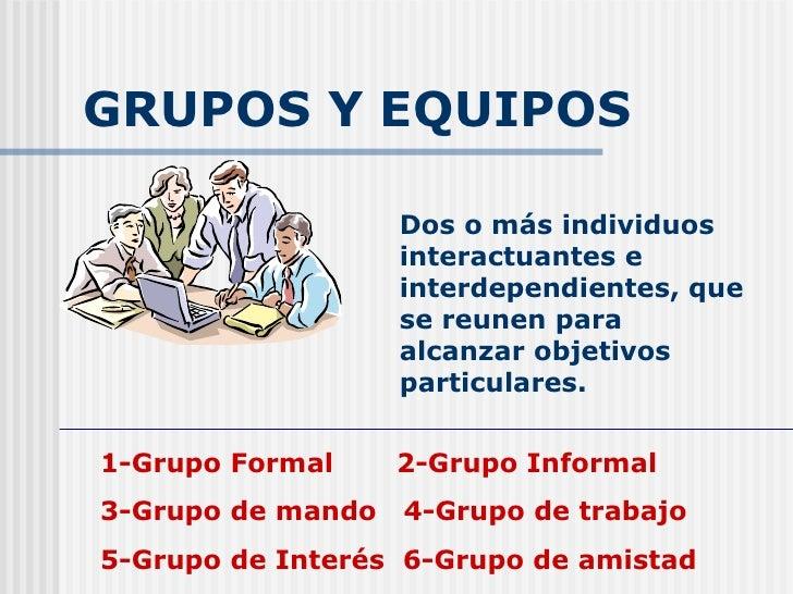 GRUPOS Y EQUIPOS Dos o más individuos interactuantes e interdependientes, que se reunen para alcanzar objetivos particular...