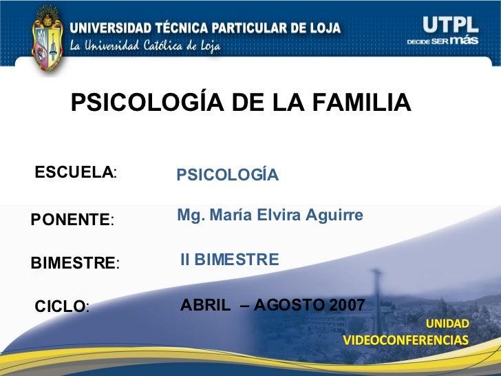 ESCUELA : PONENTE : BIMESTRE : PSICOLOG ÍA DE LA FAMILIA CICLO : PSICOLOG ÍA II BIMESTRE Mg. Mar ía Elvira Aguirre ABRIL  ...