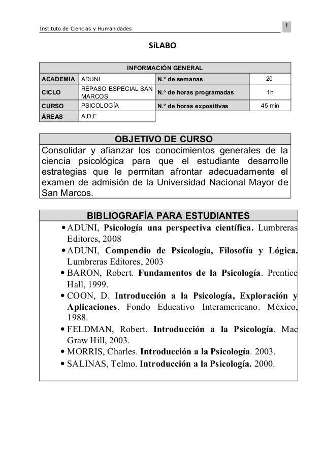 1 Instituto de Ciencias y Humanidades SíLABO INFORMACIÓN GENERAL ACADEMIA ADUNI N.o de semanas 20 CICLO REPASO ESPECIAL SA...