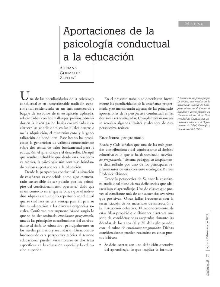 Psicologia conductual y educacion