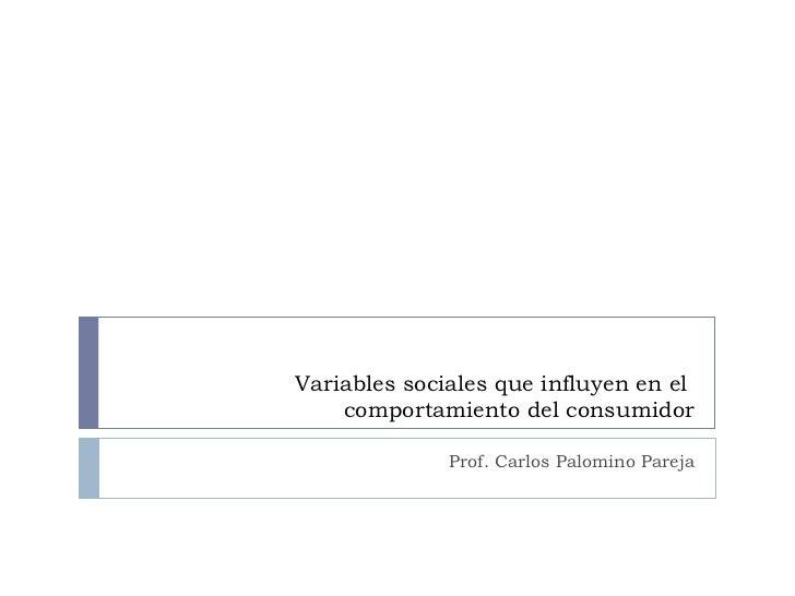 Variables sociales que influyen en el  comportamiento del consumidor Prof. Carlos Palomino Pareja