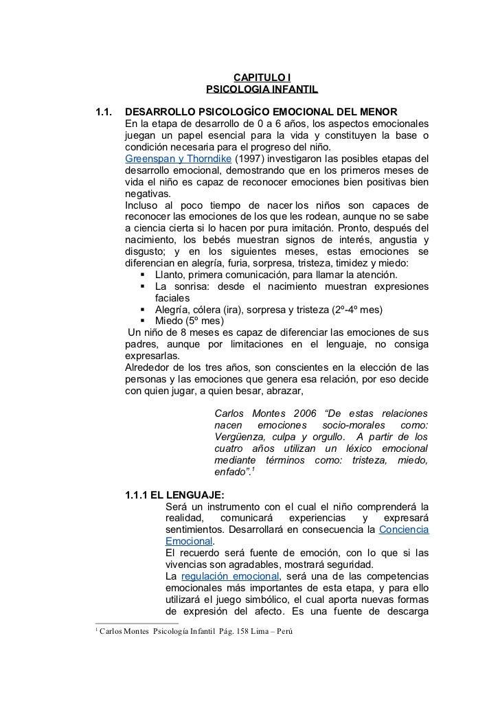 CAPITULO I                                 PSICOLOGIA INFANTIL1.1.       DESARROLLO PSICOLOGÍCO EMOCIONAL DEL MENOR       ...