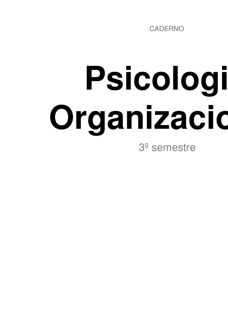 Caderno - Psicologia Organizacional