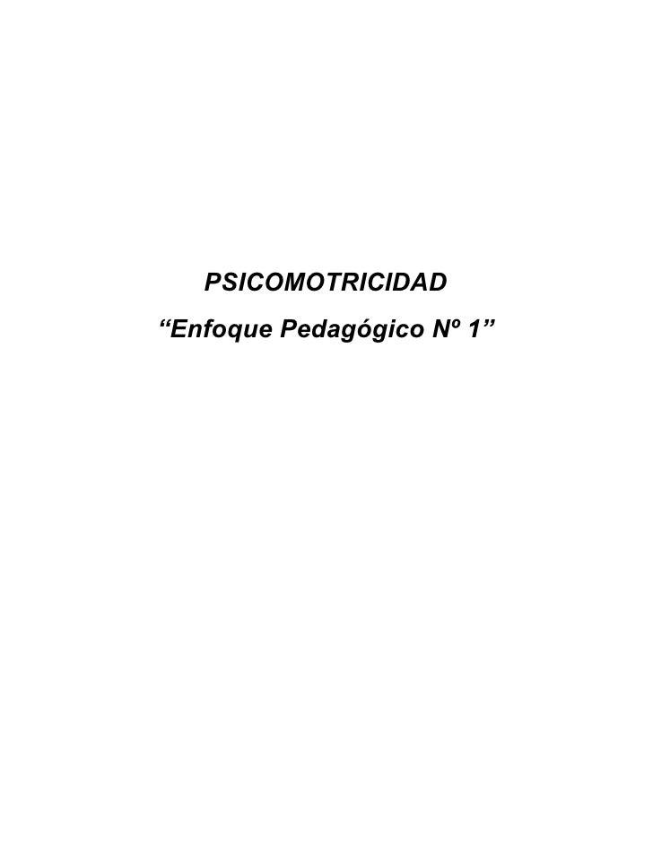 """PSICOMOTRICIDAD """"Enfoque Pedagógico Nº 1"""""""