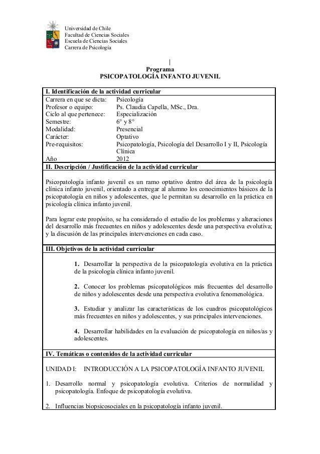 Universidad de Chile Facultad de Ciencias Sociales Escuela de Ciencias Sociales Carrera de Psicología | Programa PSICOPATO...