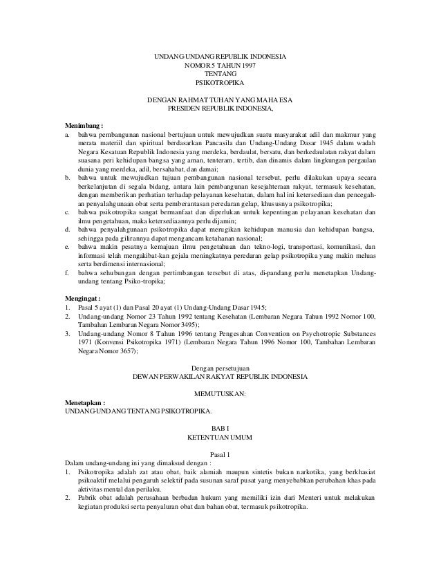UNDANG-UNDANG REPUBLIK INDONESIA                                    NOMOR 5 TAHUN 1997                                    ...