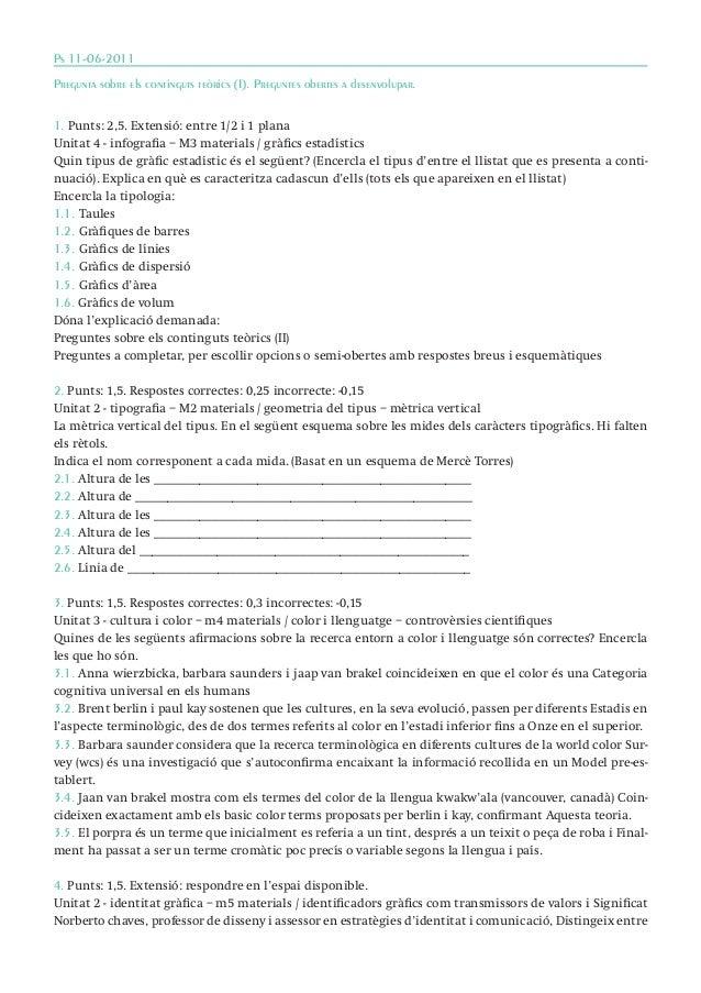 Ps 11-06-2011 Pregunta sobre els continguts teòrics (I). Preguntes obertes a desenvolupar. 1. Punts: 2,5. Extensió: entre ...