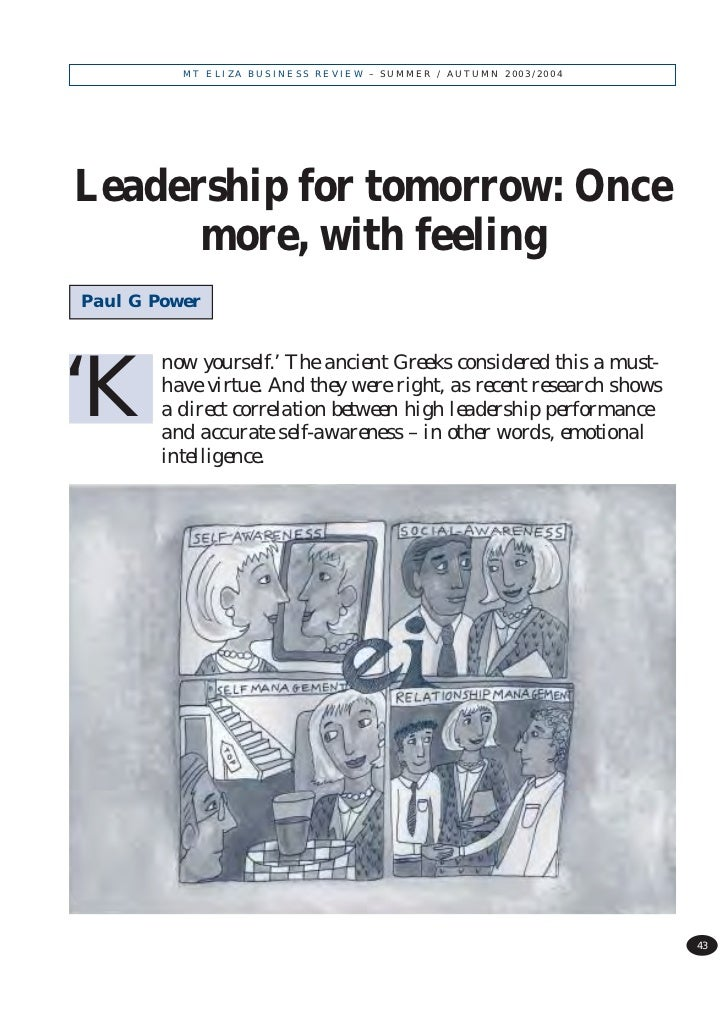 MT ELIZA BUSINESS REVIEW – SUMMER / AUTUMN 2003/2004Leadership for tomorrow: Once      more, with feelingPaul G Power     ...