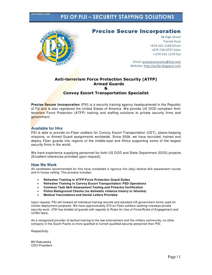 DECEMBER 2008                      PSI OF FIJI – SECURITY STAFFING SOLUTIONS                                              ...