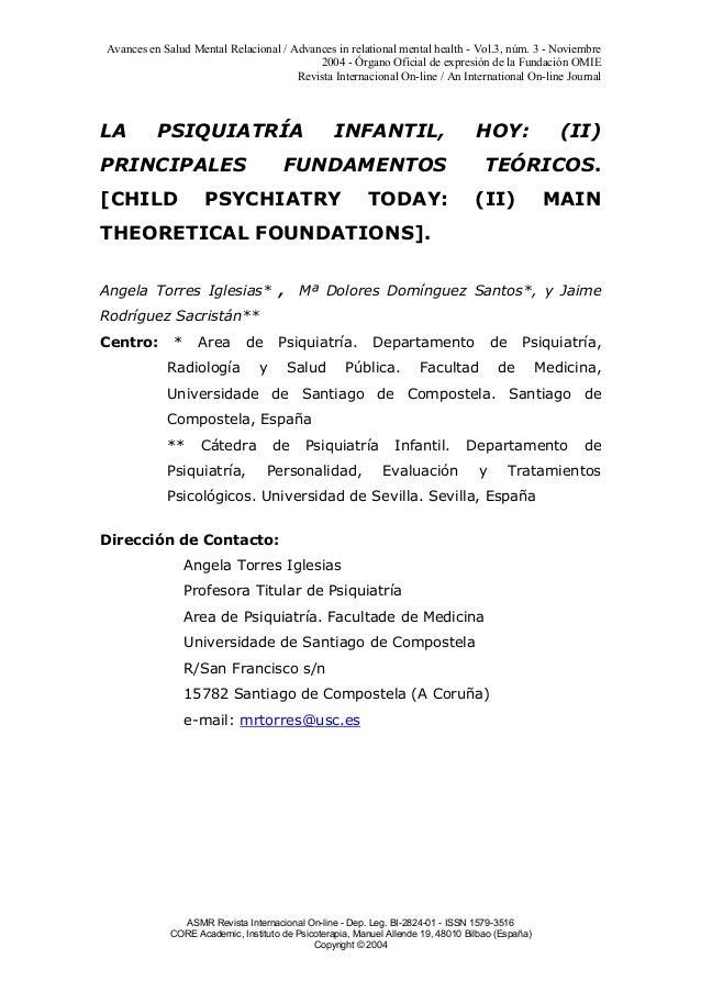 Avances en Salud Mental Relacional / Advances in relational mental health - Vol.3, núm. 3 - Noviembre 2004 - Órgano Oficia...