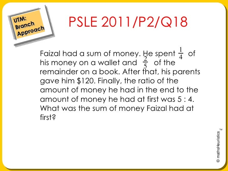 UTM: Branch Approach<br />    PSLE 2011/P2/Q18<br />Faizal had a sum of money. He spent      of his money on a wallet and ...