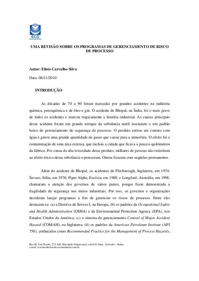 UMA REVISÃO SOBRE OS PROGRAMAS DE GERENCIAMENTO DE RISCO DE PROCESSO  Autor: Elisio Carvalho Silva Data: 08/11/2010 INTROD...