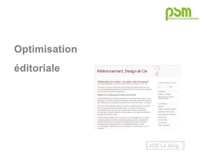 Optimisation  éditoriale JCD Le blog