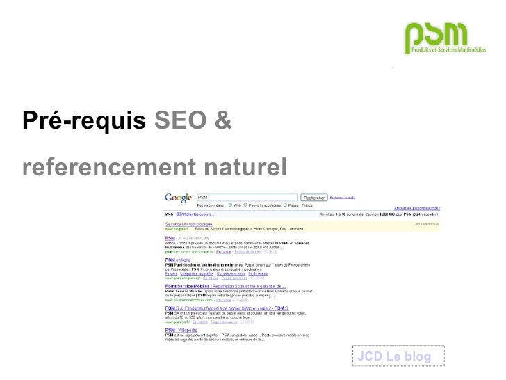 Psm   master1 - pre-requis seo - referencement naturel
